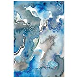 "Empire Art Direct Blue Abstract Wall Art Printed on Frameless Free Floating Tempered Glass Panel Ready to Hang,Living Room,Bedroom & Office, 32"" x 0.2"" x 48"""