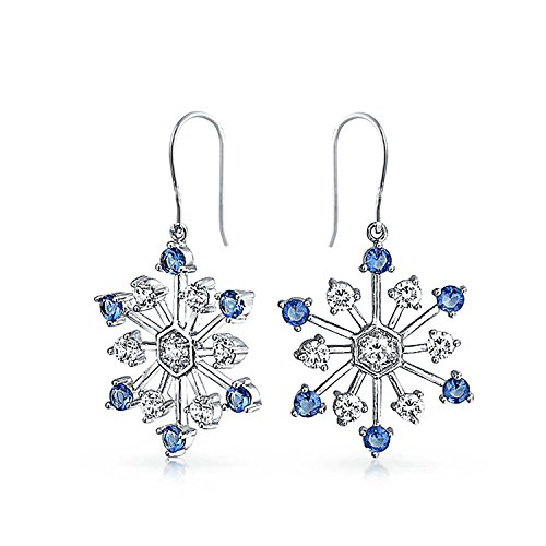 Christmas Snowflake Drop Leverback Earrings Winter Holiday Simulated Sapphire Glass CZ Rhodium Plated Brass (Winter Snowflake Earrings)