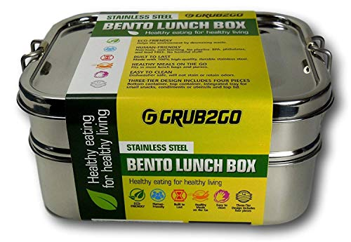 Plastic Free Stainless Steel Lunch Container by GRUB2GO + FREE BENTO FOOD IDEAS GUIDE | Premium 3-Layer 1600 ML Metal Tiffin Bento -