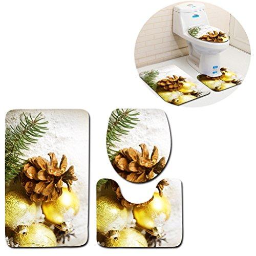 3-Piece Bathroom Rug Set Machine Washable Bath Mats Extra Soft Absorbent Perfect for Doormats, Tub, Shower (Pine cones)