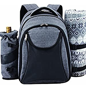Scuddles Picnic Backpack Basket Wine Cooler All-in-One Portable Picnic Bag for 4 with Complete Tableware Set, Waterproof Fleece Picnic Blanket & Detachable Insulated Cooler, Perfect for Family Picnic