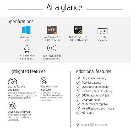 OMEN by HP Gaming Desktop Computer, AMD Ryzen 7 1800X Processor, NVIDIA  GeForce GTX 1080 8 GB, 16 GB RAM, 2 TB hard drive, 512 GB SSD, Windows 10  Home