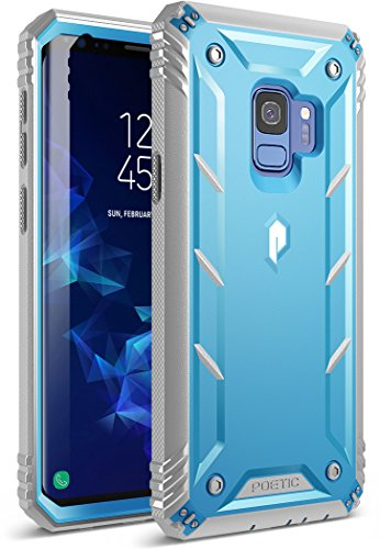 Galaxy S9 Rugged Case, Poetic Revolution [360 Degree Protection] Full-Body Rugged Heavy Duty Case with [Built-in-Screen Protector] for Samsung Galaxy S9 Blue/Gray