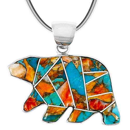 Bear Pendant Necklace 925 Sterling Silver Genuine Turquoise & Gemstones (24