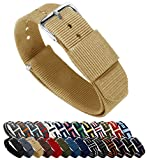 BARTON Watch Bands - Choice of Color, Length & Width (18mm, 20mm, 22mm or 24mm) - Khaki 18mm - Standard Length