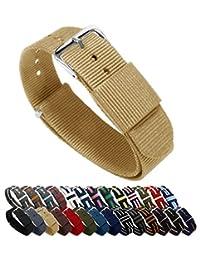 BARTON Watch Bands - Choice of Color, Length & Width (18mm, 20mm, 22mm or 24mm) - Khaki 22mm Width - Ballistic Nylon