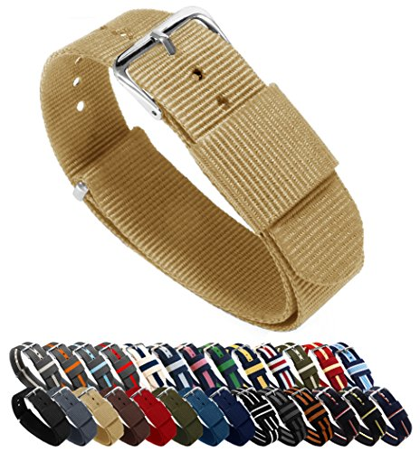 BARTON Watch Bands - Choice of Color, Length & Width (18mm, 20mm, 22mm or 24mm) - Khaki 18mm - Standard - Band Canvas