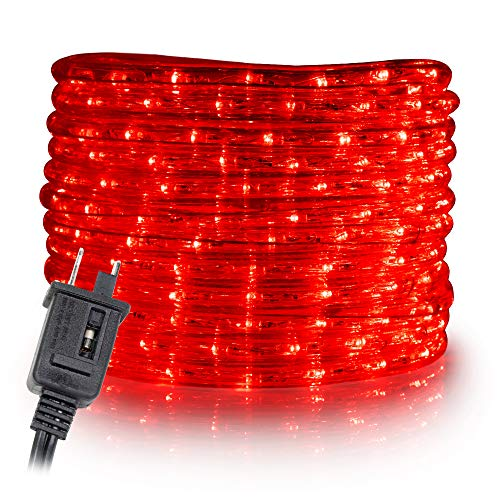 WYZworks 20 ft Red PRE-Assembled LED Rope Lights - 2 Wire Christmas Holiday Decoration Indoor/Outdoor Lighting | UL Certified