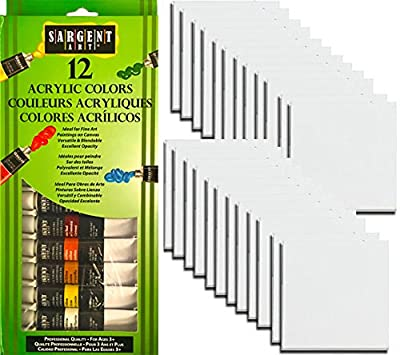 "Art Blank Canvas 24 Pack + Paint set with 12 Color Acrylic Paints 4""x 4"" Square white primed panels Pack"