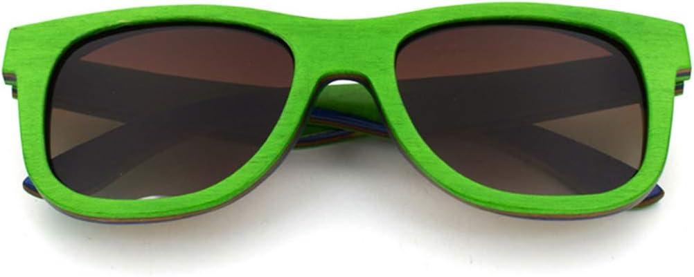ERSD Unisex-Adulto Colorido Madera Estilo Retro Artesanía Bordeado Gafas de Sol Lente de Color Protección UV400 De Gama Alta Diseño de Moda clásica (Color : Verde)