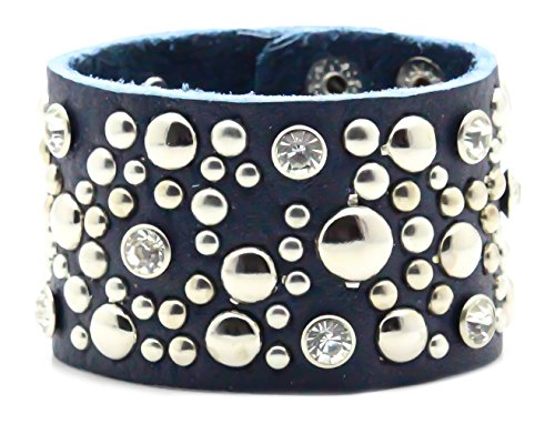 Kamellusone Hip Hop Alloy Round Rivet Crystal Wristband Leather Bracelet (Rivet Women Leather Cuff)