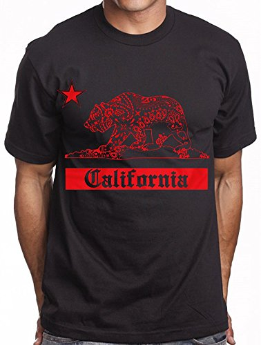 Men's Black Graphic T shirt California Republic Bandana Bear Paisley Red Rag (Paisley Bear)