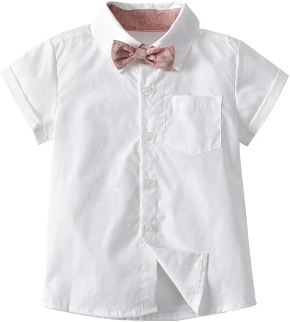 Suspenders Shorts Set for 0-3T Moonker Baby Boys Kids Summer Clothes Gentleman Bowtie Short Sleeve Shirt