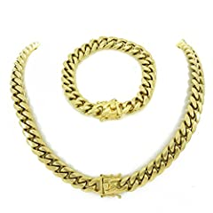 MIAMI CUBAN 14k GOLD CHAIN & BRACLET FOR MEN is just what every guy needs to complete his ensemble. The quality and visual appeal of this set is stunning, especially for the low affordable price. We use 14k Gold plating over stainless ste...