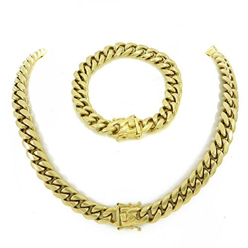 "HarlemBling 30"" Gold Miami Cuban Link Chain 8.5"" Bracelet Men! Set! Heavy 14k Gold Plated Stainless Steel Looks Like Solid Gold"