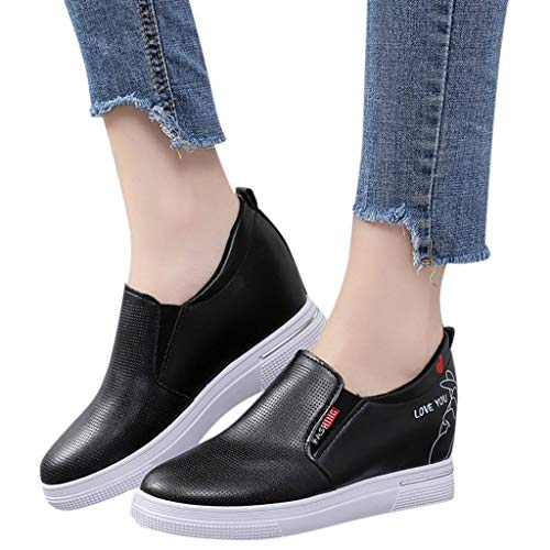 OliviavanWomen Ladies Fashion Sport Loafers Sneakers,Ladies Star Letter Flat Wedges Casual Shoes