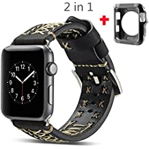 Apple Watch Band 42mm Aroko 2in1 iwatch Case Retro Vintage Genuine Leather iWatch Strap Replacement for Apple Watch Series 3 Series 2 Series 1 (42mm, Black)