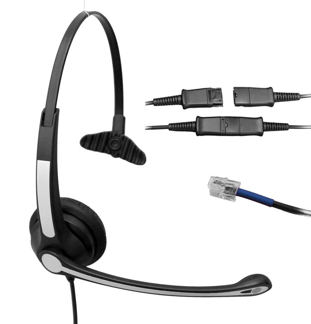 Voistek Mono Over the Head Call Center Handsfree Telephone RJ Headset with Noise Cancelling Microphone for Plantronics M10 M12 M22 & Cisco 7941 7942 9951 9971 Office Landline Desk Phones (S10TPCIS)