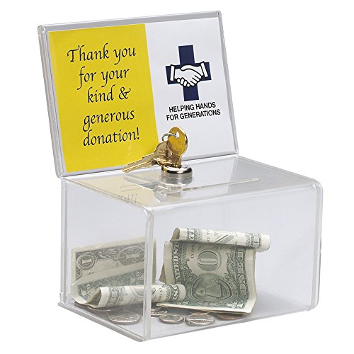 Deluxe Clear Acrylic Donation Collection Box with Lock for Church,Charity,Non-profitable Groups