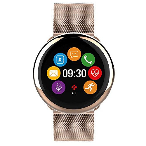 MyKronoz ZeRound2 HR Elite Smartwatch with Heart Rate Monitoring and Smart Notifications, Swiss Design, iOS and Android - Shiny Pink Gold / Milanese Pink Gold by MyKronoz (Image #2)