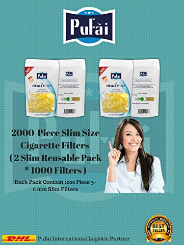Slim cigarette filters. 2000 piece (2 reusable pack * 1000 filters) disposable slim,slender and super slim size [5 and 6 mm] cigarette filters holder. New 6 hole strong filtration sytem by Pufai.
