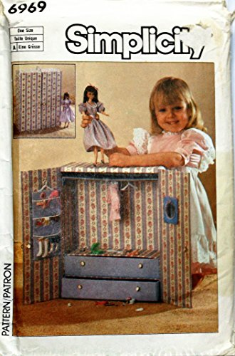 Simplicity Sewing Pattern 6969 Barbie Doll Wardrobe Closet, Wardrobe and Accessories Carry Case, Doll Wardrobe Pattern
