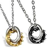 Best Flongo Wedding Ring Sets - Flongo Men's Womens 2PCS Stainelss Steel Queen King Review