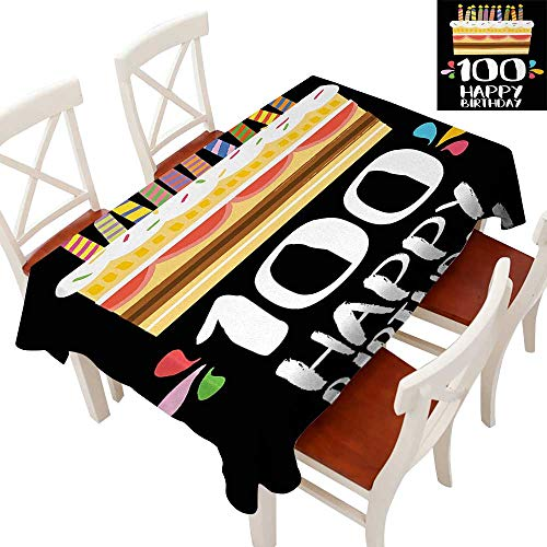 WinfreyDecor Elegance Engineered Christmas Tablecloth Patterns Tablecloths for Kitchen Old Legacy 100 Birthday Party Cake Candles on Black Major Milestone Backdrop Multicolor 54