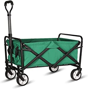 WHITSUNDAY Collapsible Folding Garden Outdoor Park Utility Wagon Picnic Camping Cart (Compact Size, Green)
