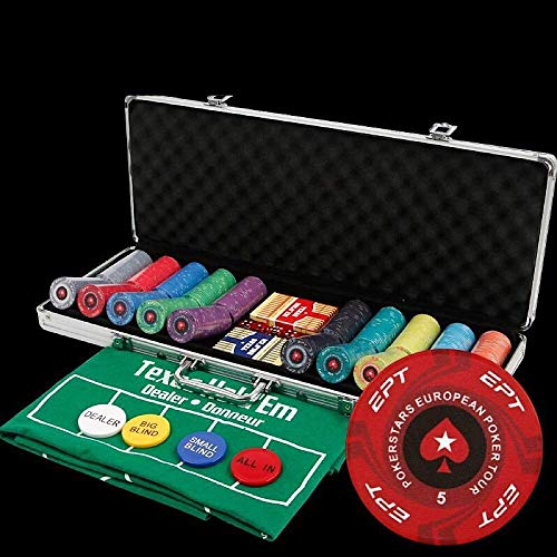 Poker Set EPT Poker Chip Set for Texas Holdem, Blackjack, Gambling with Carrying Case, Cards, Buttons (14g Ceramic Chips) 100/200/300/500