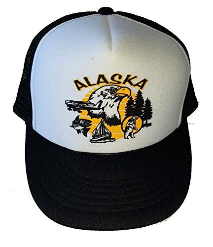 (Alaska Snapback Mesh Trucker Hat Cap Bear Eagle Salmon)