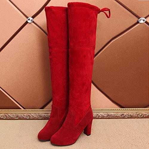 Frauen Casual Damen 35 Stiefel Rot Hohe Sonnena Boots Sexy Party Bequem Vintage Stiefel Slim Schuhe Schlauchstiefel Elegant 43 Overknee Strecken Faux Langschaftstiefel TBXHB