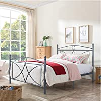 Delphina Classical Matte Dark Grey Finished Iron Queen Bed Frame