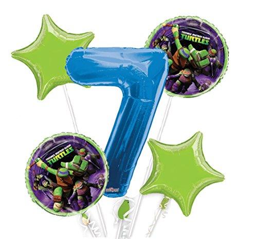 Ninja Turtles Balloon Bouquet 7th Birthday 5 pcs - Party Supplies