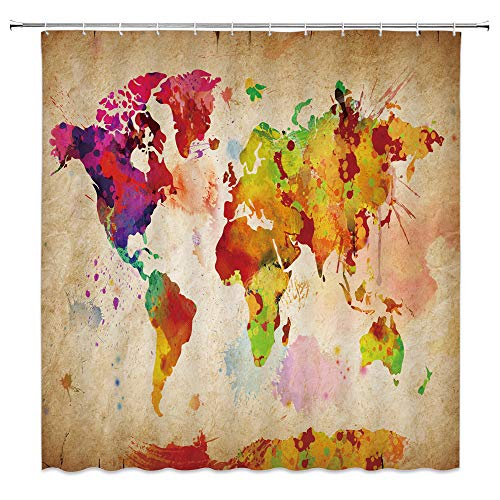 dachengxing Colorful World Map Shower Curtain Watercolor Inkjet Art Decor Retro Map Profile Artwork for Kid Study Education,Waterproof Beige Gold Red Fabric Hooks Included 70x70 Inch (Difference Between Special Education And Regular Education)