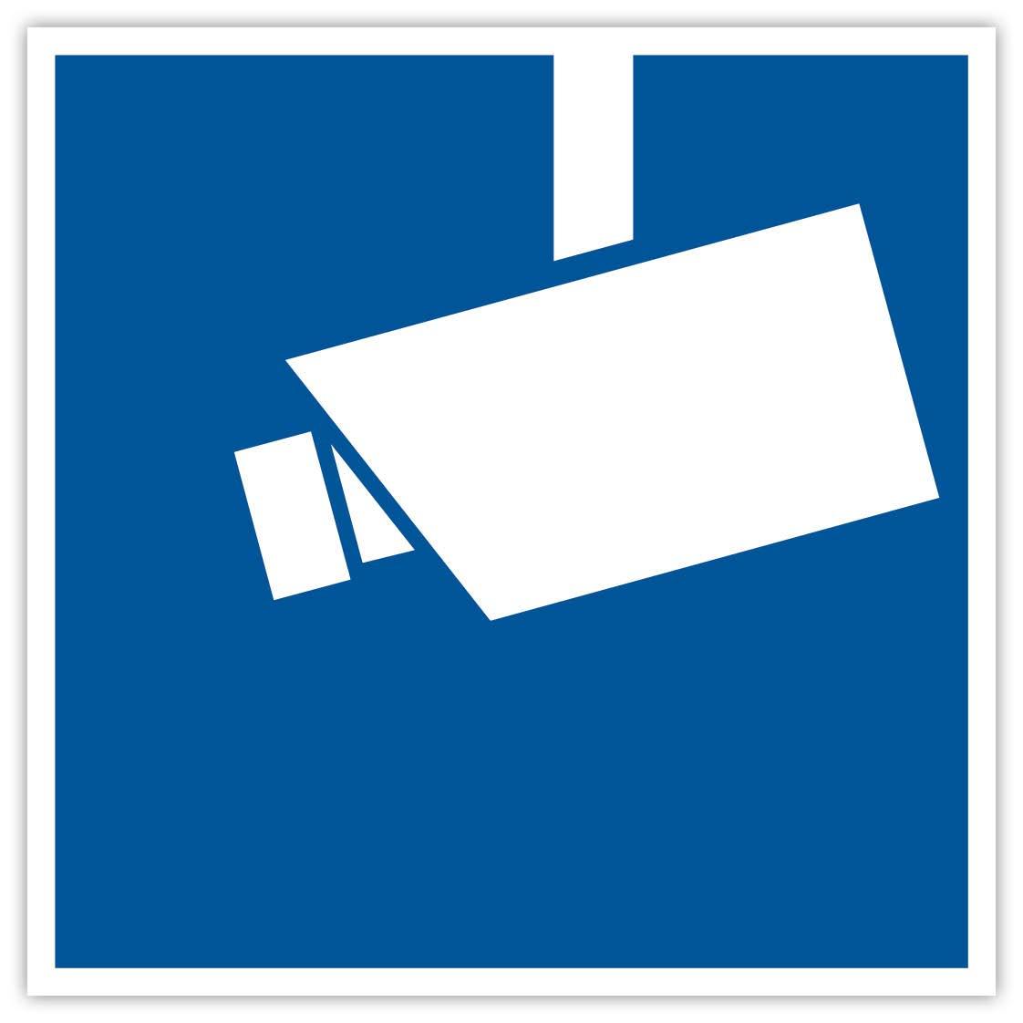 '4X 'Vidéo Surveillance autocollant 90x 90mm Carré Surveillance vidéo videoüberwacht Bleu sécurité protection anti-vol Objet Protection Avertissement Cam Dummy Anti Theft sécurité prot