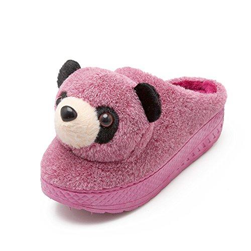 Y-Hui in inverno di cotone pantofole pantofole da camera con spesse pantofole con suole di arredo casa Semi Indoor femmina, 36-37 (Fit 34, 35 piedi),viola