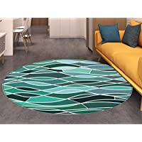Seafoam small round rug Carpet Stained Glass Pattern with Wavy Lines and Mosaic Abstract Geometric Composition door mat indoors Bathroom Mats Non Slip Multicolor
