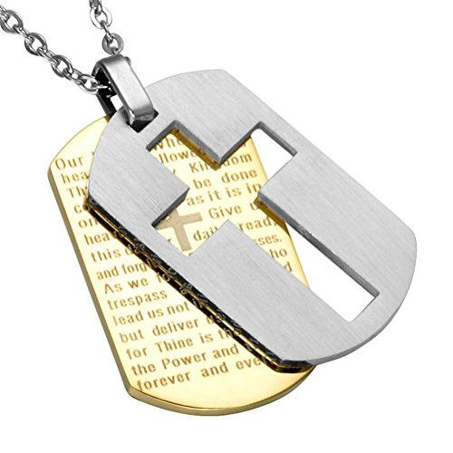 PAURO Men's Stainless Steel Bible Verse Lord's Prayer Cross Double Dog Tag Gold Silver Pendant Necklace with Chain 24 Inches, Small (Pendant Charm Dog Silver Tag)