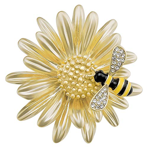 sourjas Beautiful Women Gold Plate Daisy Flower Enameled Bee Brooch Unique Corsage for Clothes
