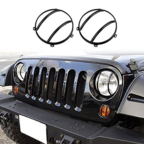 cartaoo Headlight Guard, Black Metal Headlight Protect Cover for 2007-2017 Jeep Wrangler JK Unlimited (1 Pair)