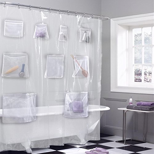 Scroll Room Divider - QEES Simple Translucent Beige Shower Curtain Liner with Mesh Pockets iPad Tablet or Phone Holder 70