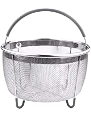 CHEFTOS Original Steamer Basket for Pressure Cooker Accessories 6qt or Larger. Compatible with Instant Pot Accessories Ninja Foodi, Strainer Insert with Silicone Handle, IP 6 Quart