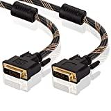 DVI Cable 40Ft, Tanbin DVI-D 24+1 Dual Link Male to Male Digital Video Cable Gold Plated with Ferrite Core Support 2560x1600 for Gaming, DVD, Laptop, HDTV and Projector