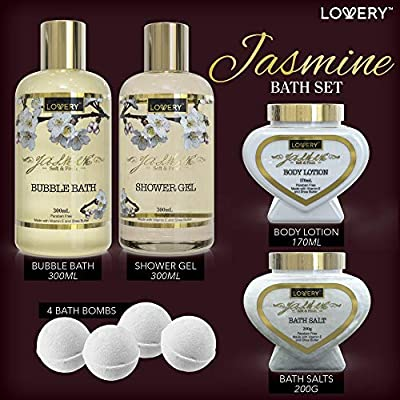 Premium Bath and Body Valentine's Gift Basket For Women – 30 Piece Set, Floral Jasmine Home Spa & Makeup Set, Includes Cosmetic Pencils, Lip Balms, Lotions, Perfume, Black Leather Cosmetic Bag & More