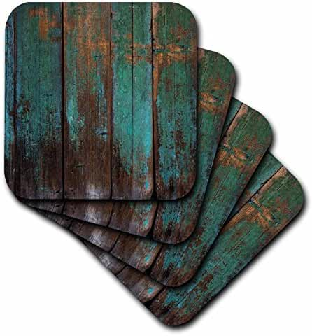3dRose Anne Marie Baugh - Wood - Teal Distressed Country Wood Effect - set of 4 Coasters - Soft (cst_239940_1)