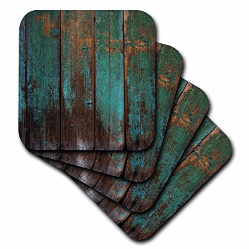 3D Rose Teal Distressed Country Wood Effect Soft Coasters Multicolor ()