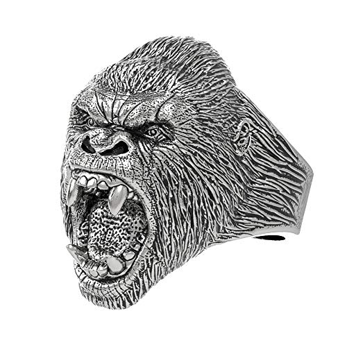 EEJART Stainless Steel Ring Vintage Animal Angry Gorilla Ring, Suitable for Hiphop Biker Men's Fashion Domineering Punk Ring (Silver, 9)