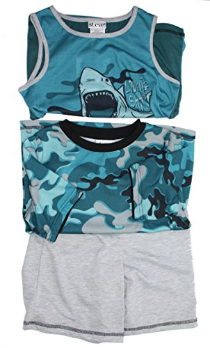 St. Eve Boys 3 pc Blue/Green Camo and Shark Sleepwear Set (Small - Galleria St