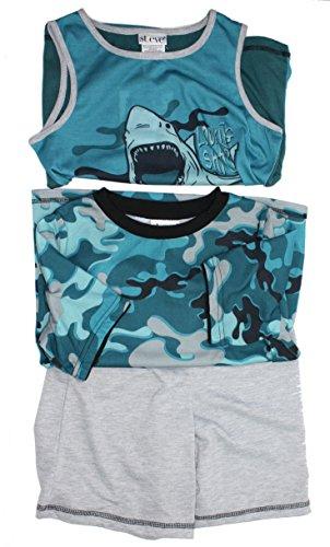 St. Eve Boys 3 pc Blue/Green Camo and Shark Sleepwear Set (Small - St Galleria
